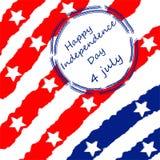 4o feliz do fundo do espaço do texto do Dia da Independência de julho EUA Ilustração desenhada mão Fotografia de Stock Royalty Free