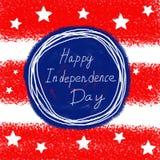 4o feliz do fundo do espaço do texto do Dia da Independência de julho EUA Ilustração desenhada mão Foto de Stock Royalty Free