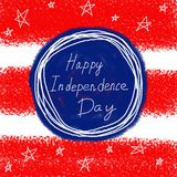 4o feliz do fundo do espaço do texto do Dia da Independência de julho EUA Mão desenhada Foto de Stock