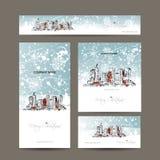 O Feliz Natal, ajustou cartão com arquitetura da cidade Imagens de Stock Royalty Free