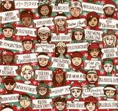 O Feliz Natal assina dentro línguas diferentes - colora a versão ilustração royalty free