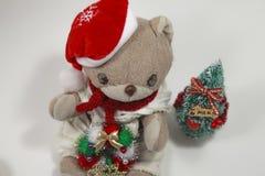 O Feliz Natal bonito de urso de peluche Fotografia de Stock Royalty Free