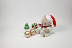 O Feliz Natal bonito de urso de peluche Fotos de Stock Royalty Free