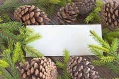 O Feliz Natal carda com agulhas e cones do pinheiro em de madeira Foto de Stock