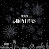 O Feliz Natal carda com as casas na cidade Fotos de Stock Royalty Free