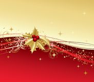 O Feliz Natal carda com azevinho do ouro Fotografia de Stock Royalty Free