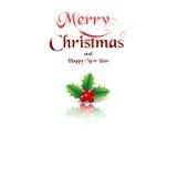O Feliz Natal carda com azevinho no fundo branco Fotografia de Stock