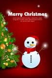 O Feliz Natal carda com boneco de neve ilustração royalty free