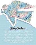 O Feliz Natal carda com o anjo colorido ilustração royalty free