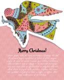 O Feliz Natal carda com o anjo colorido ilustração stock