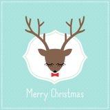 O Feliz Natal carda com os cervos bonitos com curva Fotografia de Stock Royalty Free