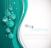 O Feliz Natal carda com quinquilharia azul Foto de Stock