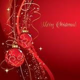 O Feliz Natal carda com quinquilharia vermelha Fotos de Stock Royalty Free