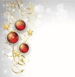 O Feliz Natal carda com quinquilharia vermelha Imagens de Stock Royalty Free