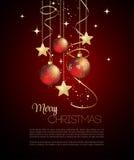 O Feliz Natal carda com quinquilharia vermelha Foto de Stock