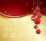 O Feliz Natal carda com quinquilharia vermelha Fotos de Stock
