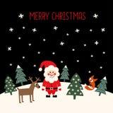 O Feliz Natal carda com Santa Claus bonito, as árvores do xmas, os cervos, a raposa e os flocos de neve Fotografia de Stock Royalty Free