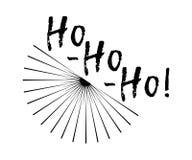 O Feliz Natal carda com sunburst e caligrafia Ho! Ho! Ho! ilustração stock