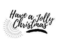 O Feliz Natal carda com sunburst e a caligrafia tem um alegre ilustração stock
