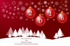 O Feliz Natal carda no fundo vermelho Imagens de Stock