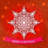 O Feliz Natal cardam e a decoração do floco de neve Fotos de Stock Royalty Free