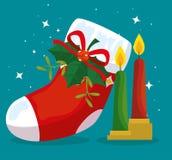 O Feliz Natal carreg com curva e velas da fita ilustração stock