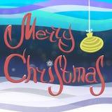 O Feliz Natal da inscrição com neve deriva, com a bola do ` s do ano novo dos flocos de neve, da neve e de árvore de Natal Fotografia de Stock