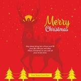 O Feliz Natal deseja o cumprimento do molde ilustração do vetor