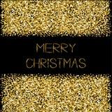 O Feliz Natal do quadro do brilho dos sparkles do ouro text o fundo preto do cartão Fotos de Stock Royalty Free