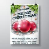 O Feliz Natal do vetor Party o projeto com elementos da tipografia do feriado e as bolas de vidro no fundo da madeira do vintage ilustração stock