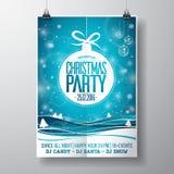 O Feliz Natal do vetor Party o projeto com elementos da tipografia do feriado e as bolas de vidro no inverno ajardinam o fundo Foto de Stock Royalty Free