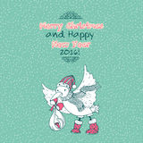 O Feliz Natal do vintage rabisca o cartão com pássaro e bebê da cegonha Imagem de Stock Royalty Free