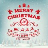 O Feliz Natal e o ano novo feliz carimbam, a etiqueta ajustada com anjos, Papai Noel no trenó com cervos e presentes do Natal ilustração royalty free
