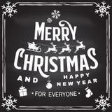 O Feliz Natal e o ano novo feliz carimbam, a etiqueta ajustada com anjos, Papai Noel no trenó com cervos e presentes do Natal ilustração stock