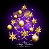 O Feliz Natal e o ano novo feliz gostam da árvore do xmas no purpl escuro Fotografia de Stock