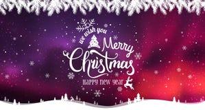 O Feliz Natal e o ano novo tipográficos no fundo dos feriados com inverno ajardinam com flocos de neve, luz, estrelas ilustração do vetor