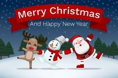 O Feliz Natal e o companheiro do ano novo feliz, guardar de Papai Noel, de boneco de neve e de rena entregam-se e para comemorar  ilustração royalty free