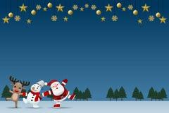 O Feliz Natal e o companheiro do ano novo feliz, guardar de Papai Noel, de boneco de neve e de rena entregam-se e para comemorar  ilustração stock