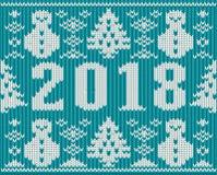 O Feliz Natal e os 2018 anos novo fizeram malha o cartão, vetor Imagens de Stock