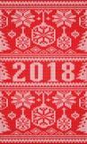 O Feliz Natal e os feriados novos felizes de 2018 anos fizeram malha o cartão, vetor Imagem de Stock Royalty Free
