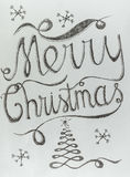 O Feliz Natal entrega o projeto de rotulação tirado Foto de Stock Royalty Free
