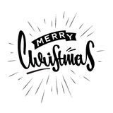 O Feliz Natal entrega o projeto retro tirado Rotulação moderna da caligrafia e da escova Foto de Stock Royalty Free
