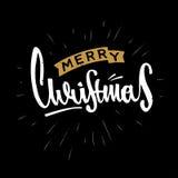 O Feliz Natal entrega o projeto retro tirado Rotulação moderna da caligrafia e da escova Retro do vintage textured Fotos de Stock