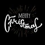 O Feliz Natal entrega o projeto retro tirado Rotulação moderna da caligrafia e da escova Retro do vintage textured Imagens de Stock