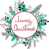 O Feliz Natal envolve-se com galhos, plantas, azevinho ilustração do vetor