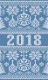 O Feliz Natal fez malha a bandeira, 2018 anos novo Fotografia de Stock