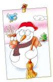 O Feliz Natal, fez o boneco de neve que o alce sai, sorrindo, ele neva Imagens de Stock Royalty Free
