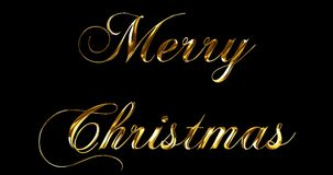 O Feliz Natal metálico do ouro amarelo do vintage exprime o texto com reflexo claro no fundo preto com canal alfa, conceito de do video estoque