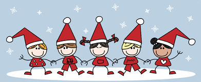 O Feliz Natal misturou crianças étnicas Fotografia de Stock