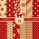 O Feliz Natal modela a coleção sem emenda Ajuste de X-mas 12 ilustração stock